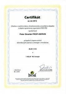 Certifikat v systeme zberu, zhodnocovania a recyklacie odpadu, r.2012